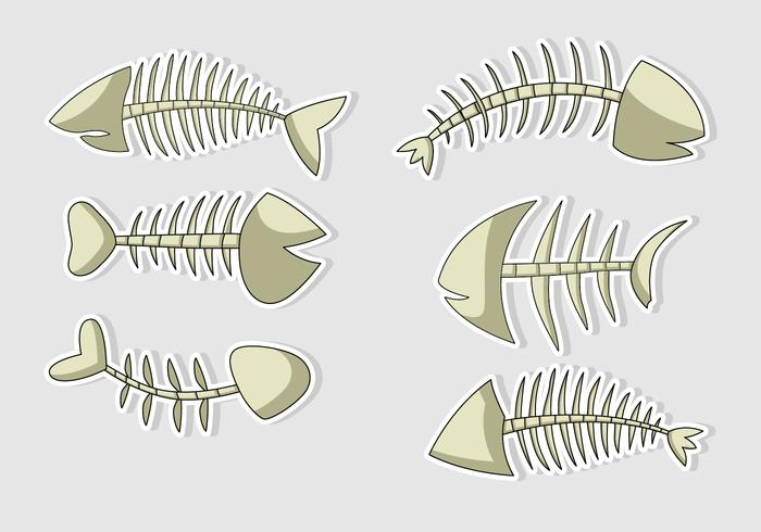 Vector Fish Bone Cartoons Isolated