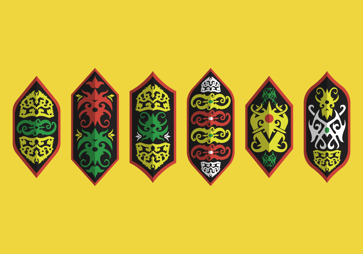 dayak shield tribal motif vector collection download free vector art stock graphics images. Black Bedroom Furniture Sets. Home Design Ideas