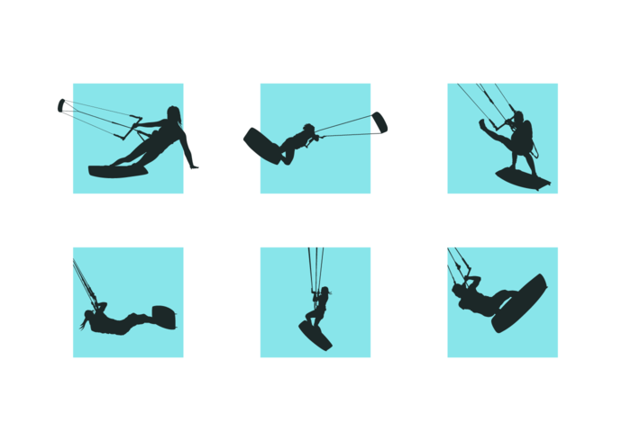 Kitesurfing Silhouettes Free Vector Pack