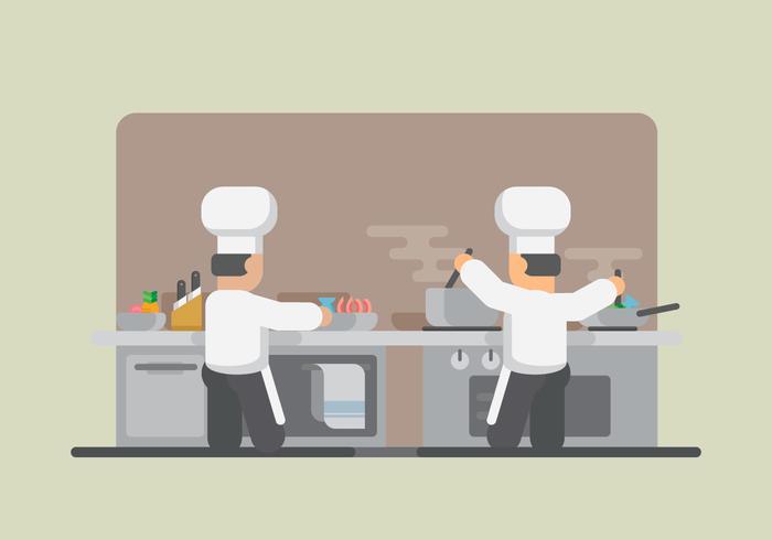 Cuisson des crevettes. Illustration de restaurant. Chef de cuisine.