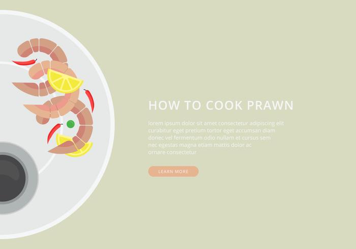 How To Cook Prawns. Seafood Cooking Illustration.