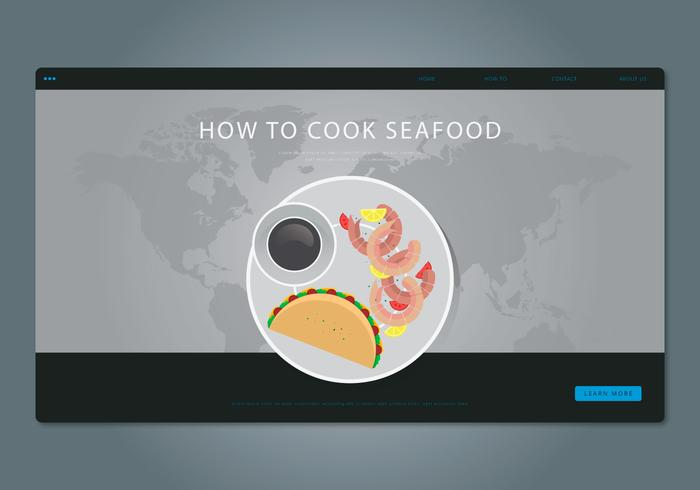 How To Cook Prawns. Seafood Cooking Illustration. Website Template