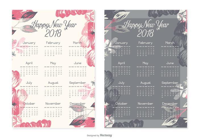 New Year 2018 Calendar Cards