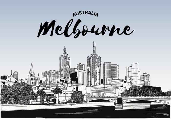 Ilustração esboçado do vetor do horizonte de Melbourne