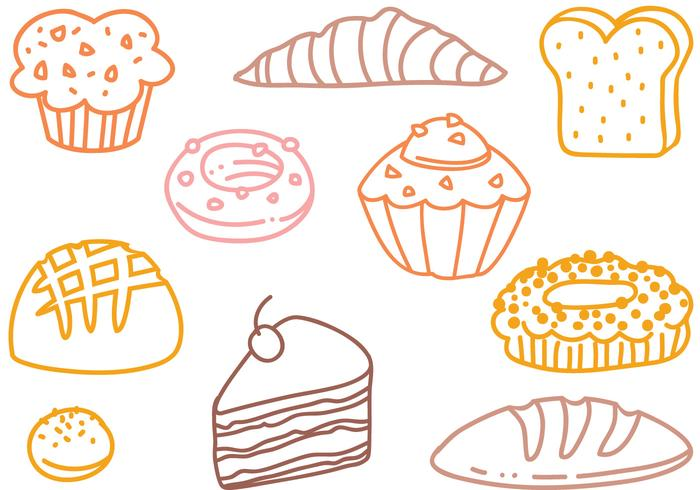 Free French Pastry Doodle Vectors