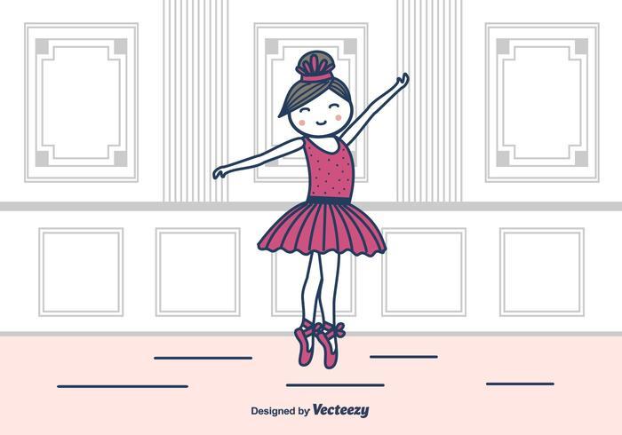 Ballerina In Studio Vector Illustration