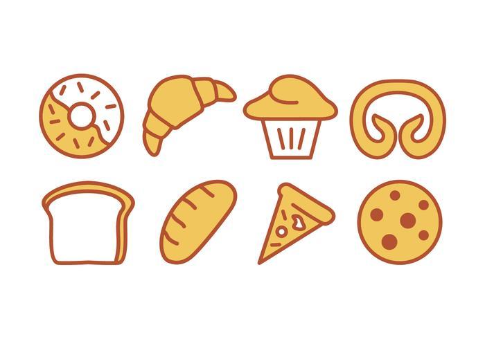 Conjunto de iconos de panadería y panadería