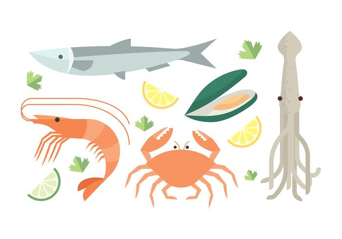 Seafood Set Free Vector