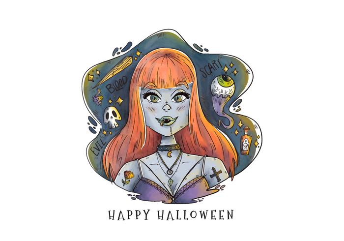 Sexy Vampire Woman With Orange Long Hair Vector
