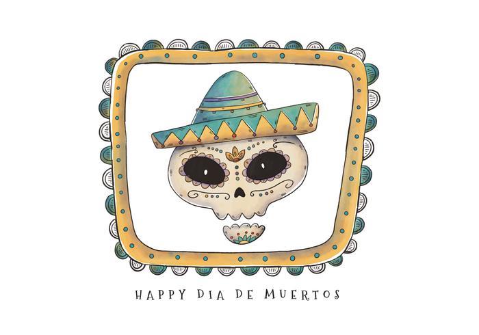 Vector Scary Sugar Skull for Dia De Los Muertos