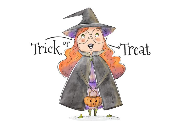 Cute Little Girl With Witch Costume Trick or Treating