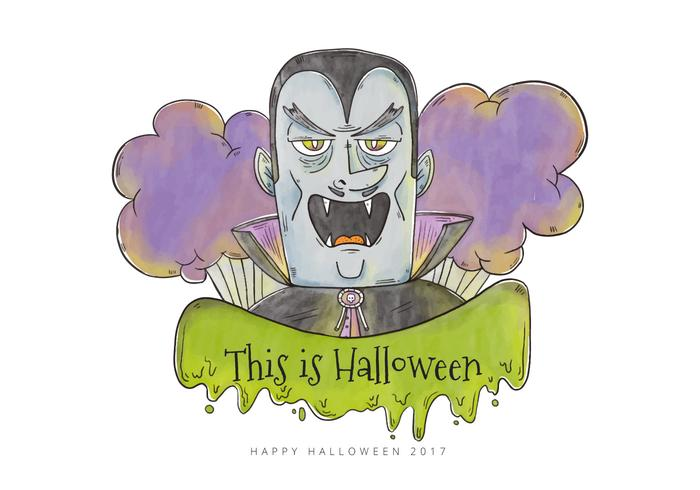 Evil Blue Dracula Character for Halloween Vector