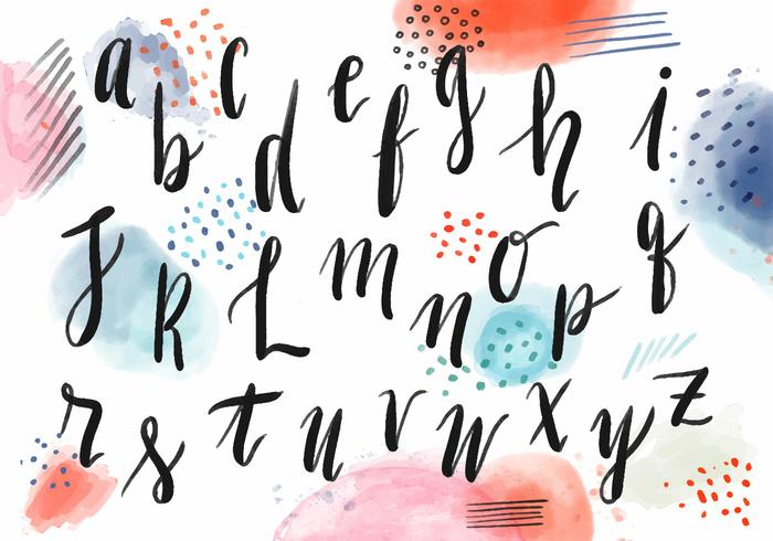 Watercolor Lettering Alphabet With Colorful Background