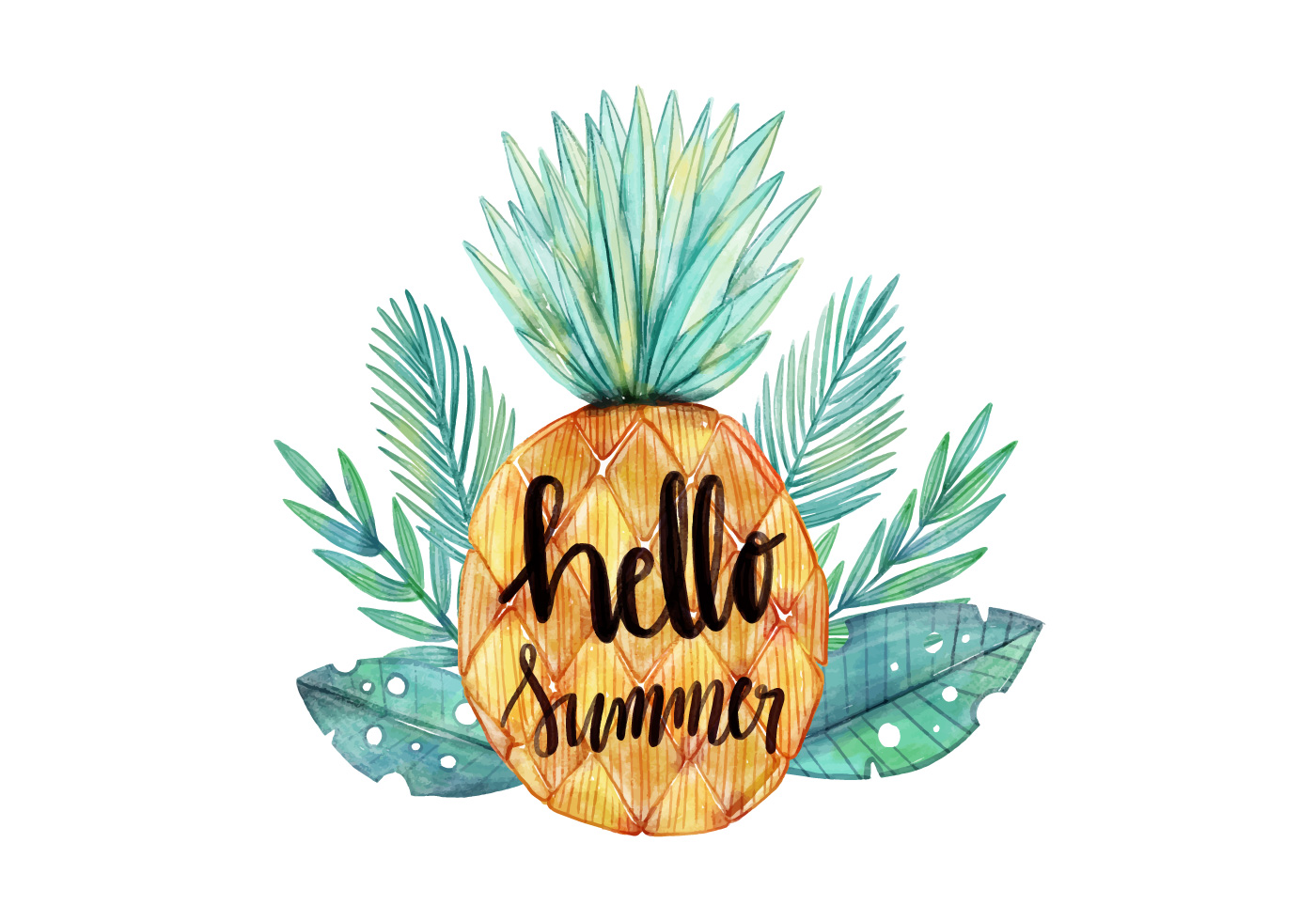 Hello Summer Watercolor Pineapple With Tropical Leaves ...