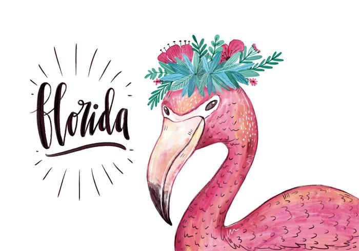 Vector Watercolor Flamingo Character With Flower Crown para o estado da Flórida