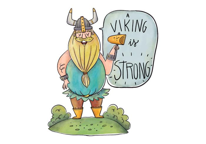 Blondie Viking Character hablando con casco y Speech Bubble con cita