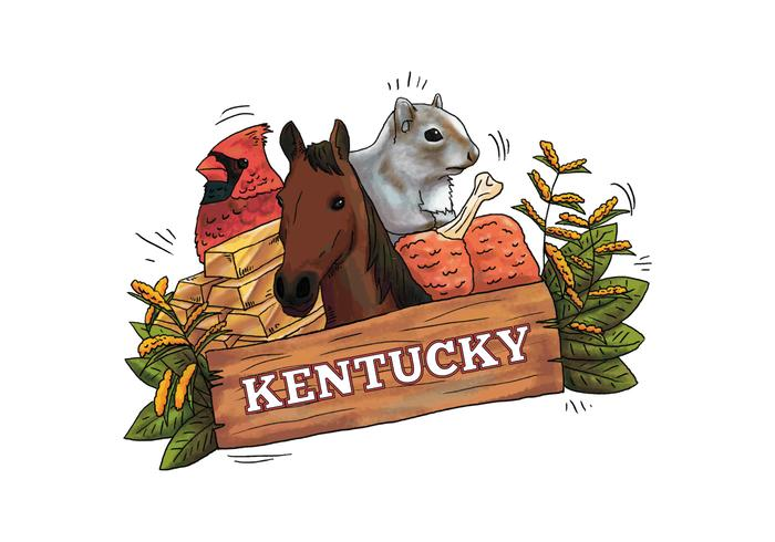 Kentucky Wood Sign With Horse, Bird, Squirrel, Gold And Leaves Vector