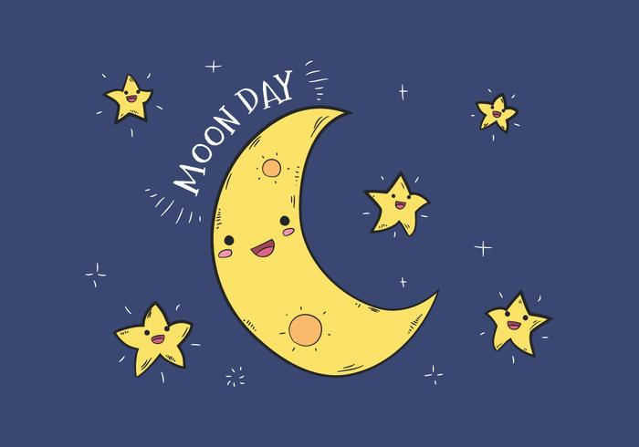 Cute Moon Character in the Sky Vector