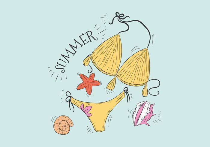 Bikini giallo sveglio dello Swimwear con il vettore delle stelle marine