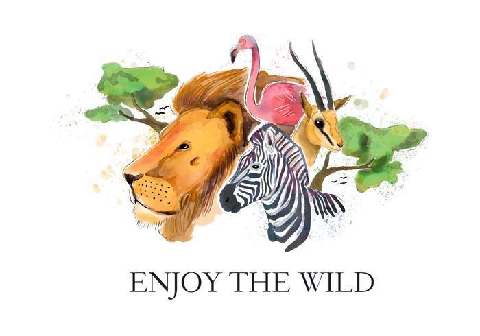 Safari Wildlife Watercolor Style Vector