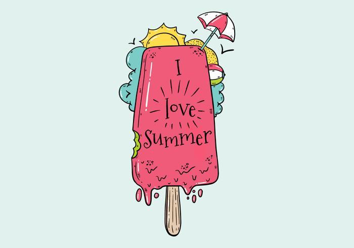 Cute Ice Cream With Umbrella for Summer Vector