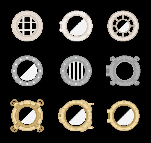 Porthole Icons Vector
