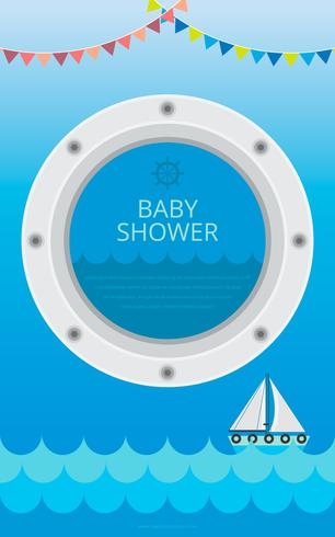 Porthole Illustration for Baby Shower Template Vector