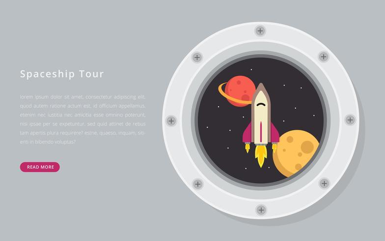 Ojo de buey redondo en un vector de nave espacial