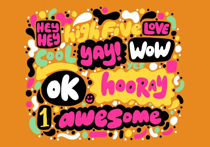 Colorful Positive Hand Lettering Vector