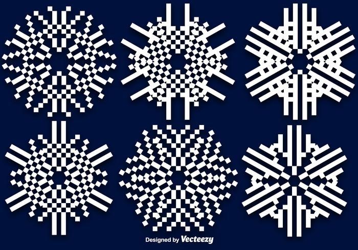 Flat 8-bit Vector Snowflakes