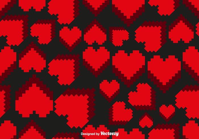 Vector Pixel Heart Seamless Pattern