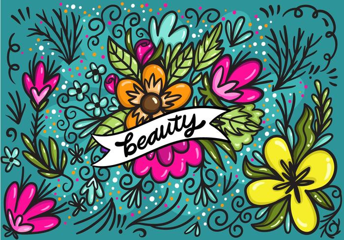 Beauty Banner with Flowers Vector