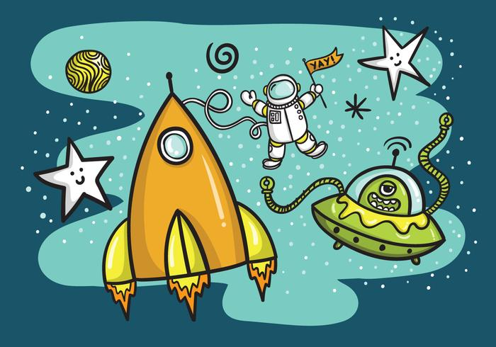 Space Rocket Ship & Alien Vector