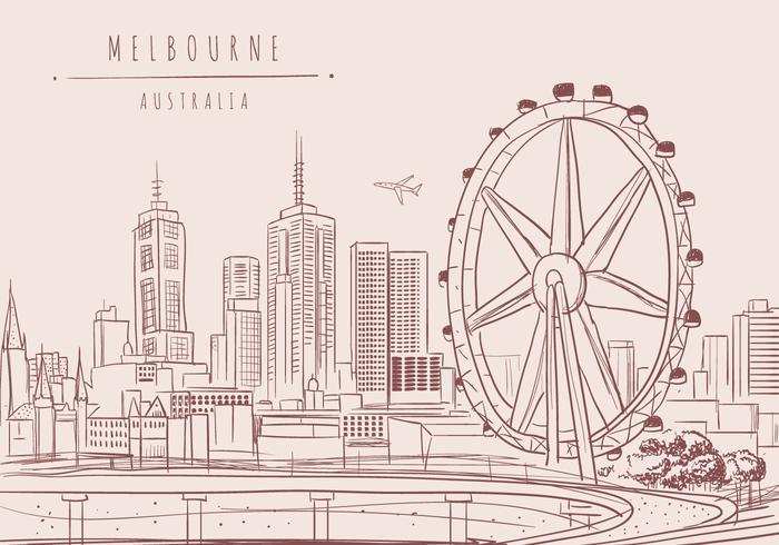 Melbourne City Vector Background
