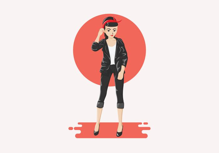 Greaser Girl Vector