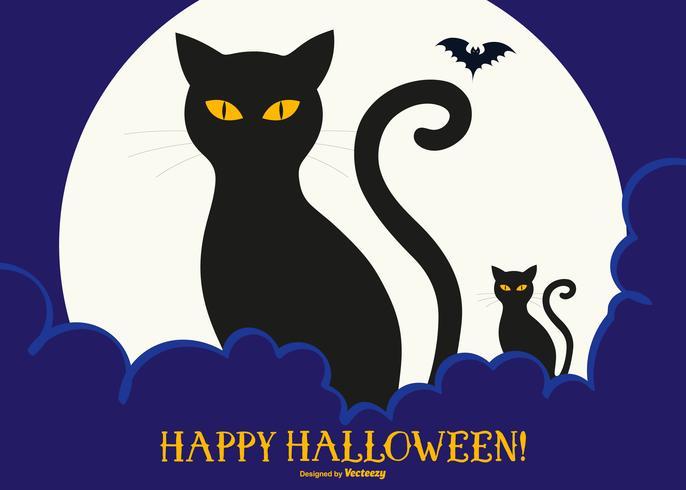 Leuke Zwarte Katten Gelukkige Halloween Illustratie
