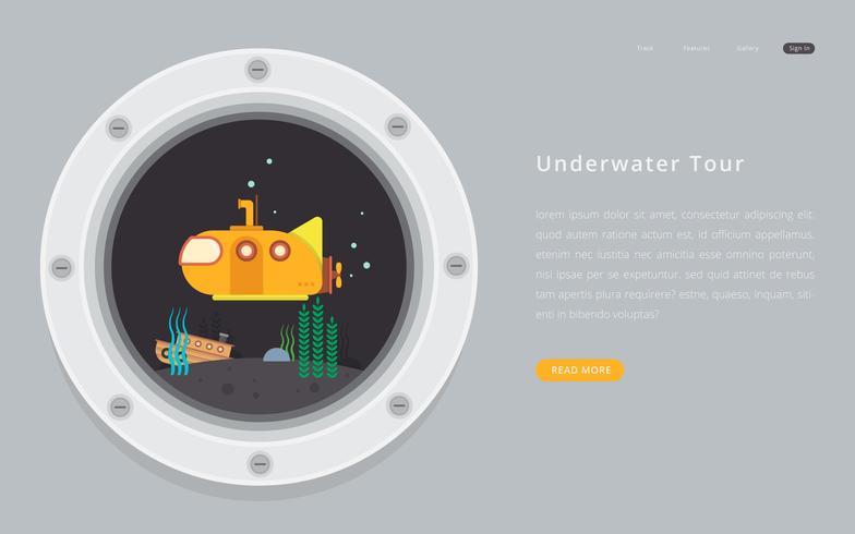 Submarine porthole with underwater exploration