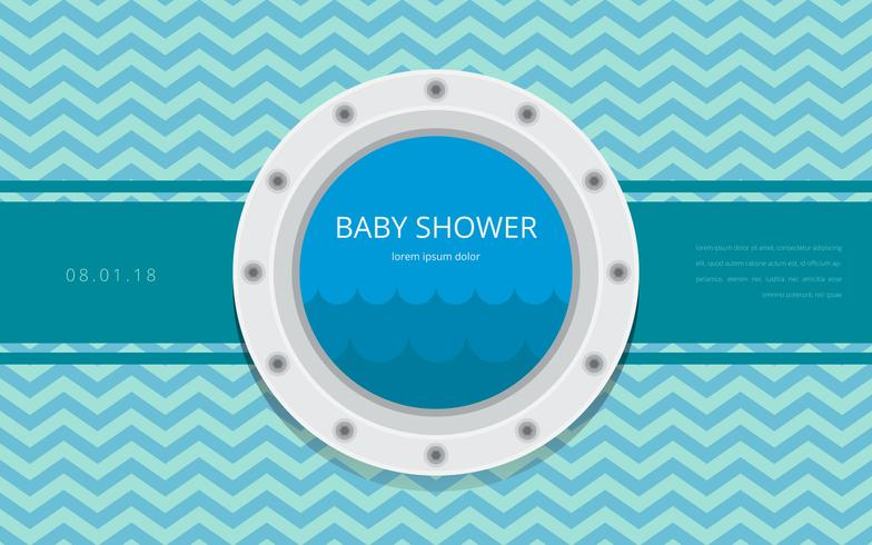 Porthole Baby Shower Template Invitation Vector