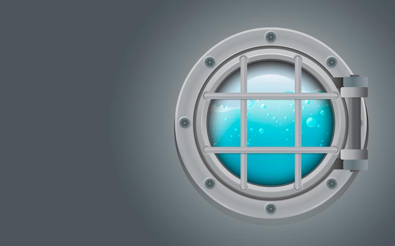 Submarine metal side porthole for underwater vector