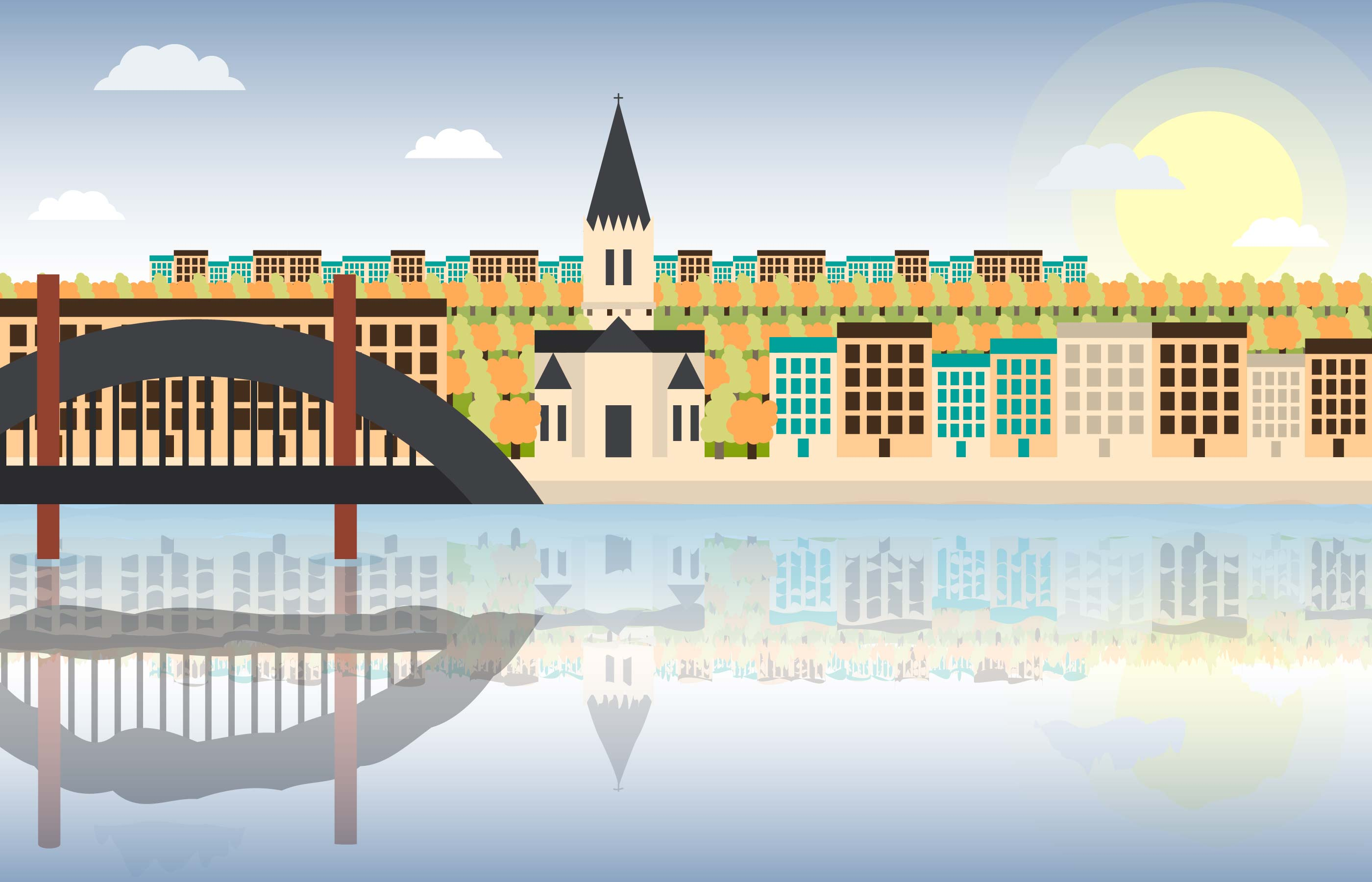 Town Landscape Vector Illustration: Lyon City Landscape Flat Illustration Vector
