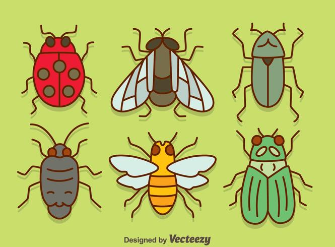 Bugs Collection On Green Vector