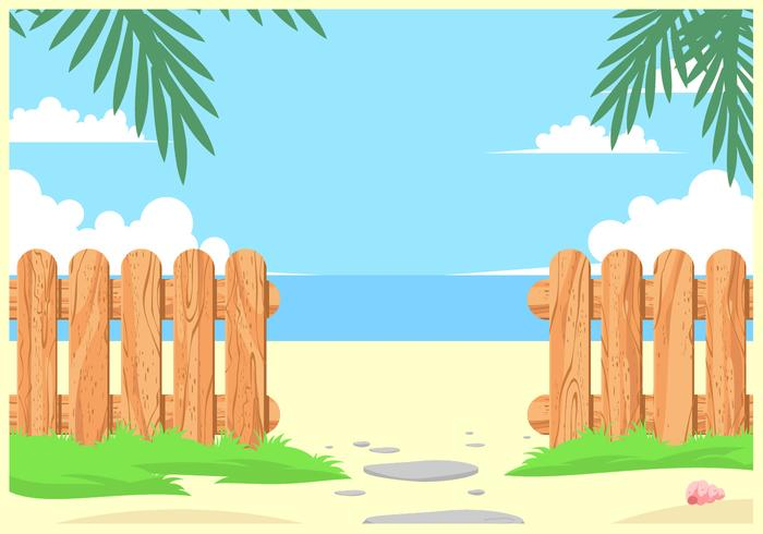 Textured Wooden Fences On The Beach Vector