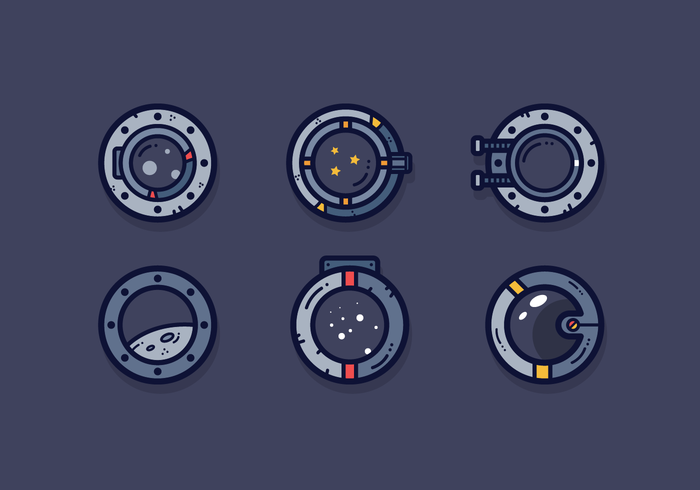 vrije ruimte schip porthole vector