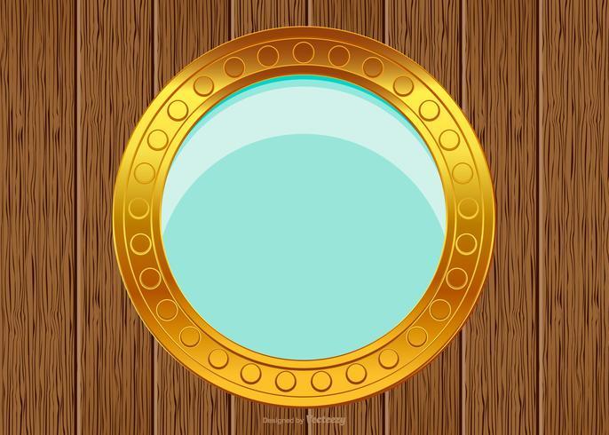 Porthole on Wood Background vector