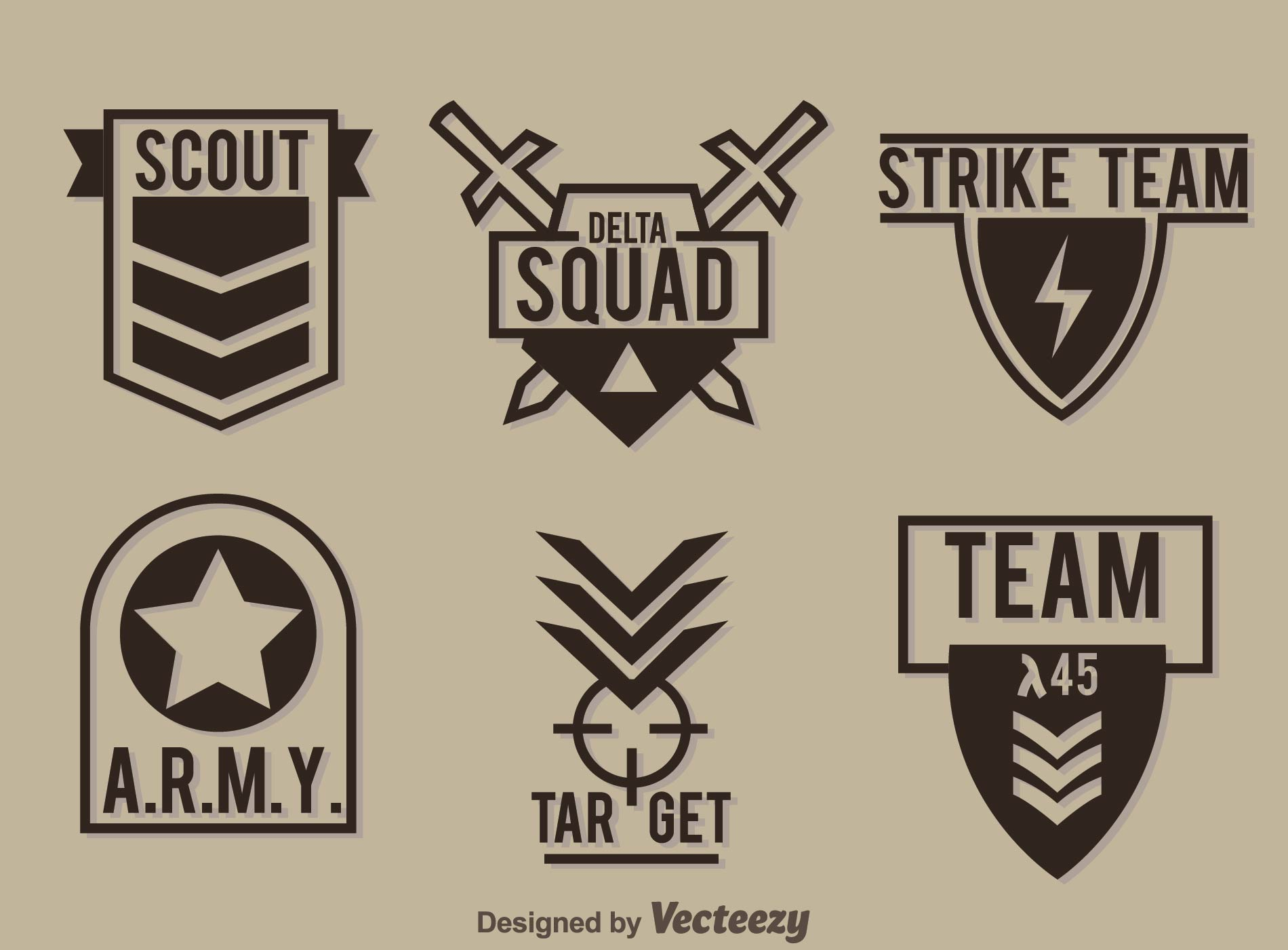 Military Badge Collection Vector - Download Free Vectors ...