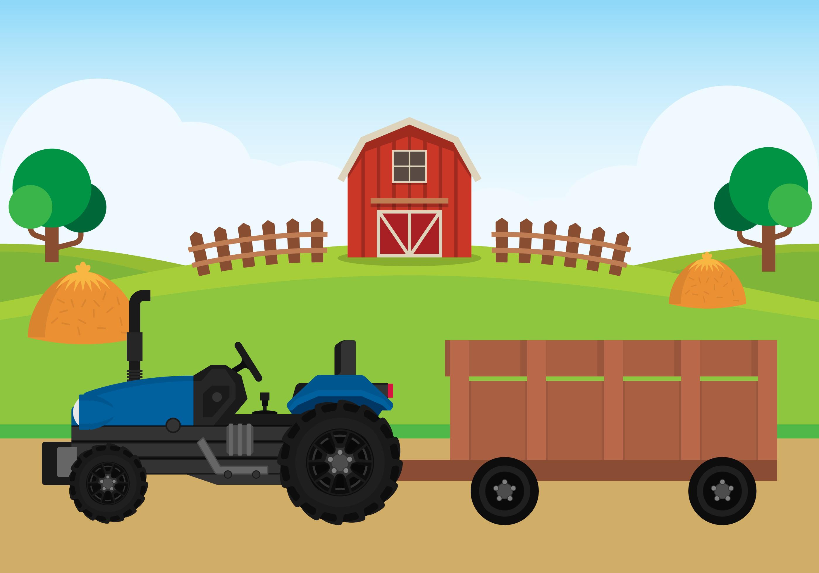 Landscape Illustration Vector Free: Farm Flat Landscape Illustration