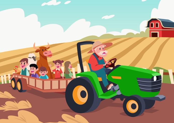 Hayride In A Farm vector