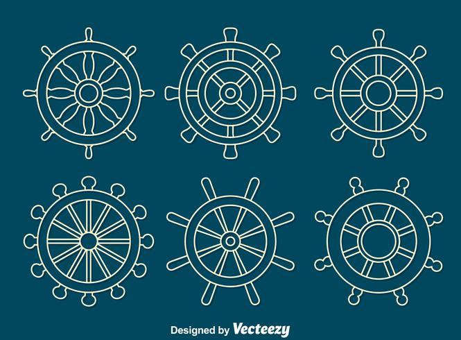 vit linje fartyg hjul vektor