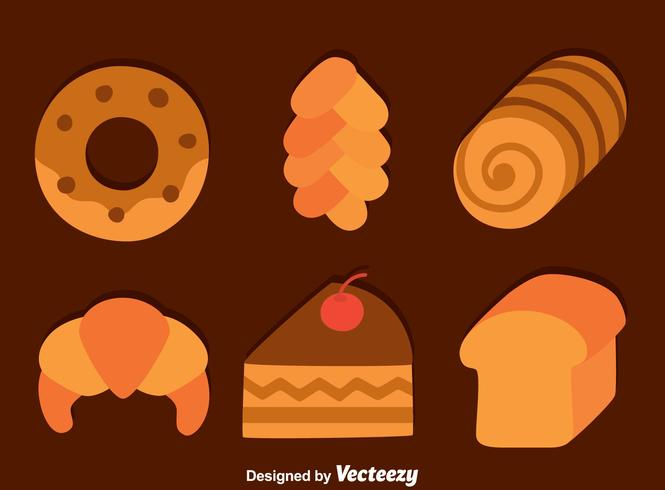 Platte Brood En Cake Vector