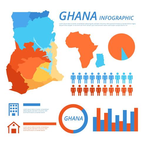 Free Ghana Map Infographic Vector